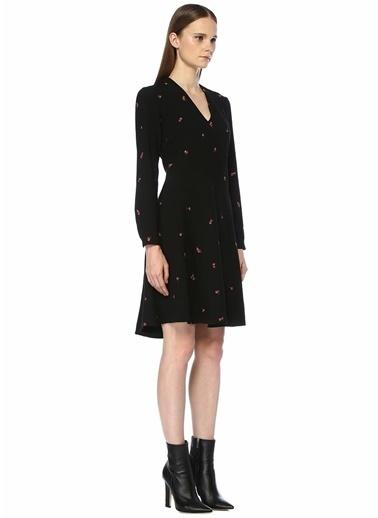Beymen Club V Yaka Çiçek Nakışlı Midi Elbise Siyah